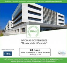 """Jornada BREEAM """"Oficinas sostenibles, el valor de la diferencia"""""""