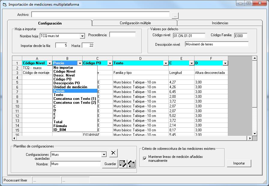 Detalle importación de mediciones multiplataforma